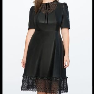 Eloquii Faux Leather Dress with Laser Cut Lace Bib